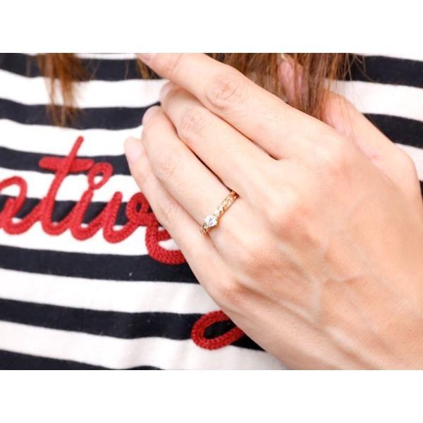 ピンキーリング ダイヤモンド 一粒 リング ハワイアンジュエリー リング 大粒 ピンクゴールドk10 ハワイアンリング 10金 k10pg ダイヤ ストレート 母の日