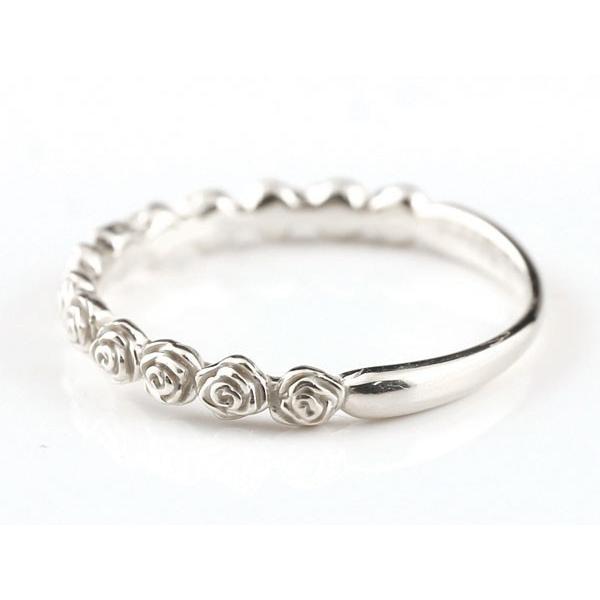 ピンキーリング バラ ローズ 薔薇 ホワイトゴールドk18リング シンプル 指輪 華奢リング 重ね付け 指輪 地金リング 細身 k18 アンティーク レディース