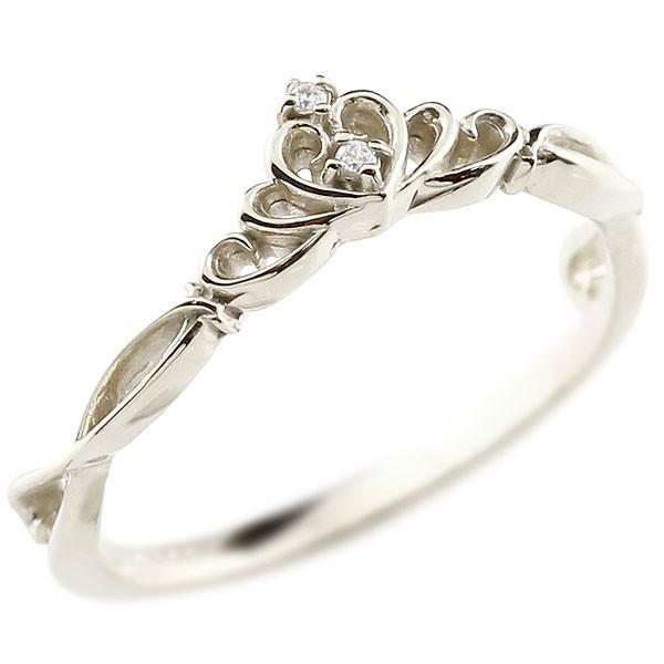 ピンキーリング ティアラ プラチナリング ダイヤモンド シンプル 指輪 華奢リング 重ね付け 指輪 細め 細身 pt900 アンティーク レディース クリスマス 女性