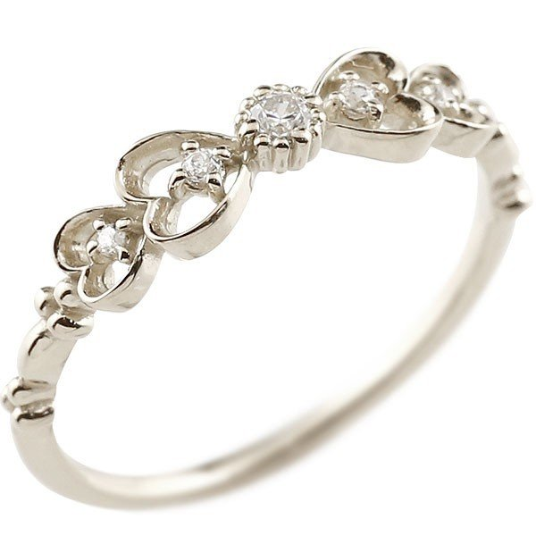 ピンキーリング りぼん リボン シルバーリング ダイヤモンド シンプル 指輪 華奢リング 重ね付け 指輪 細め 細身 sv925 アンティーク レディース