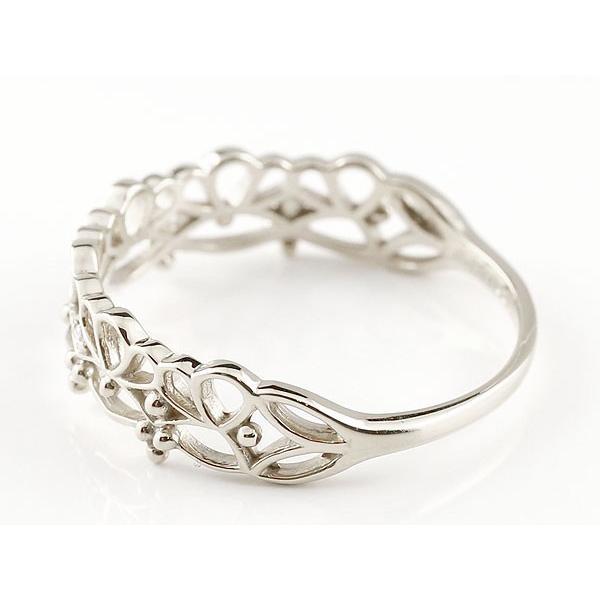 ピンキーリング レース模様 ホワイトゴールドk10リング ダイヤモンド シンプル 指輪 華奢リング 重ね付け 指輪 細め 細身 k10 アンティーク レディース