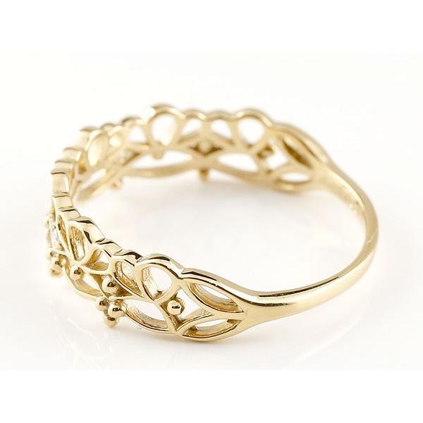 ピンキーリング レース模様 イエローゴールドk18リング ダイヤモンド シンプル 指輪 華奢リング 重ね付け 指輪 細め 細身 k18 アンティーク レディース