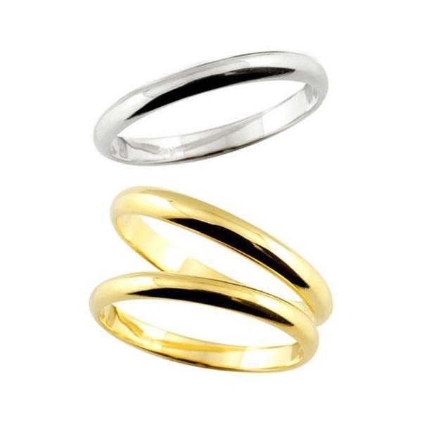 ストレート マリッジリング 甲丸 結婚指輪 ペアリング イエローゴールドk18 ホワイトゴールドk18 結婚式 18金 トラスリング 3本セット 秋 冬 クリスマス 女性