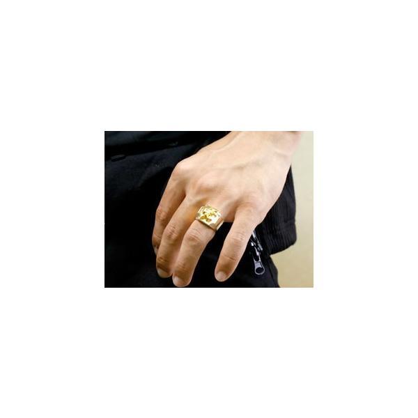 メンズ ペアリング 印台 幅広 指輪 ユリの紋章 シルバー イエローゴールドk18 コンビリング 男性用 18金 トラスト フルール・ド・リス クリスマス 女性