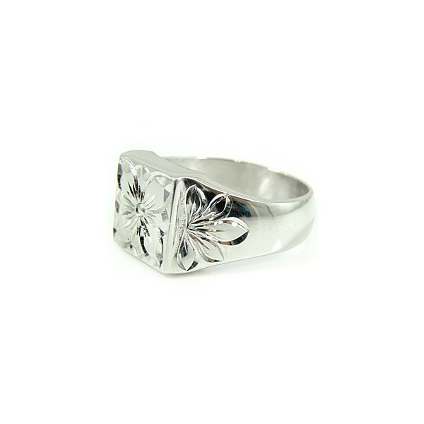結婚指輪 ペアリング メンズ ハワイアン プルメリア 花 マイレ 葉 シルバー925 sv925 指輪 宝石なし 男性用 トラスト クリスマス 女性