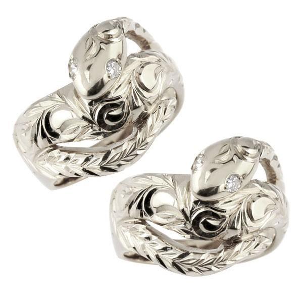 ペアリング プラチナ 2本セット PT900 メンズ ハワイアン 蛇 リング ダイヤモンド ダイヤ スネーク 指輪 男性用 トラスト クリスマス 女性