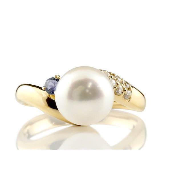 パールリング 真珠 フォーマル エンゲージリング 婚約指輪 18金  アイオライト イエローゴールドk18 リング ダイヤモンド ダイヤ 指輪 18金 宝石