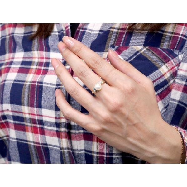 パールリング 真珠 フォーマル  ブルートパーズ ホワイトゴールドk18 リング キュービックジルコニア ピンキーリング キュービック 指輪 18金 宝石 Xmas