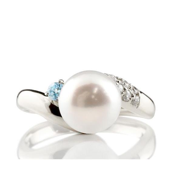 婚約指輪 安い パールリング 真珠 フォーマル エンゲージリング 婚約指輪  ブルートパーズ プラチナ900 リング ダイヤモンド ダイヤ 指輪 宝石