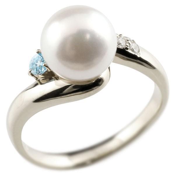 パールリング 真珠 フォーマル エンゲージリング 婚約指輪 18金  ブルートパーズ ホワイトゴールドk18 リング ダイヤモンド ダイヤ 指輪 18金 宝石 Xmas