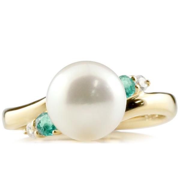 パールリング 真珠 フォーマル エンゲージリング 婚約指輪 18金  エメラルド イエローゴールドk18 リング ダイヤモンド ダイヤ 指輪 18金 スパイラル 宝石 Xmas