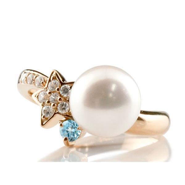 パールリング 真珠 フォーマル  星 スター ブルートパーズ ピンクゴールドk18 リング ダイヤモンド ピンキーリング ダイヤ 指輪 18金 スパイラル
