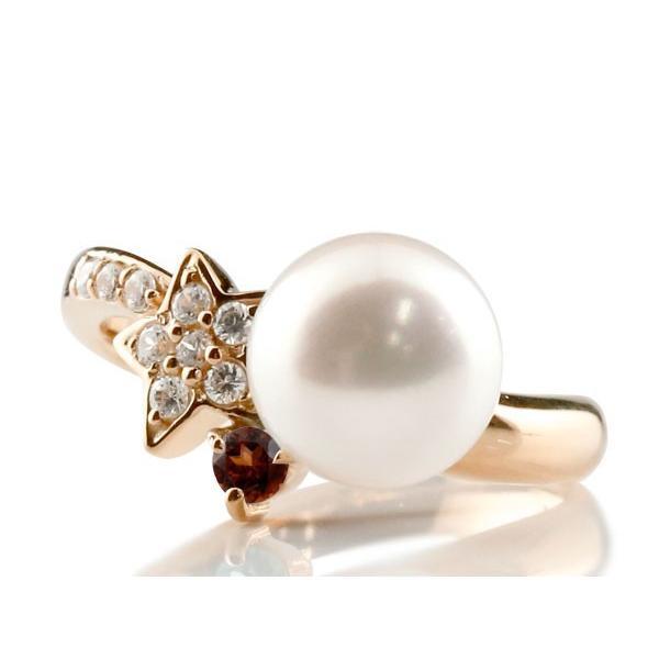 パールリング 真珠 フォーマル エンゲージリング 婚約指輪 10金  星 スター ガーネット ピンクゴールドk10 リング ダイヤモンド ダイヤ 指輪 10金 スパイラル