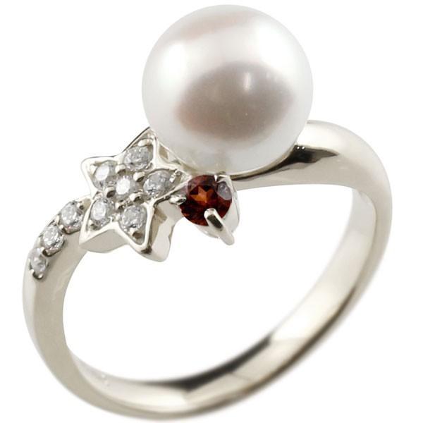 パールリング 真珠 フォーマル  星 スター ガーネット プラチナ900 リング ダイヤモンド ピンキーリング ダイヤ 指輪 スパイラル