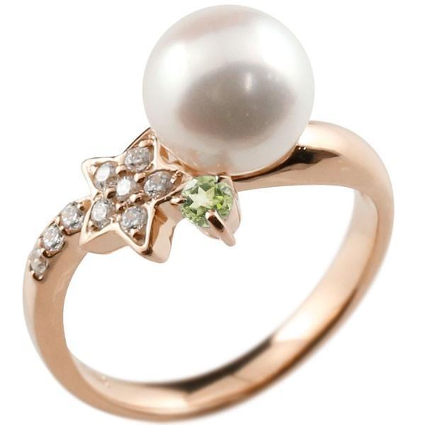 パールリング 真珠 フォーマル  星 スター ペリドット ピンクゴールドk18 リング ダイヤモンド ピンキーリング ダイヤ 指輪 18金 スパイラル