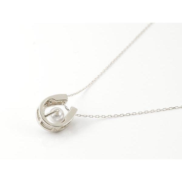 誕生石 馬蹄 ネックレス パールネックレス 真珠 フォーマル アクアマリン キュービックジルコニア ホワイトゴールドk18 ペンダント ホースシュー 3月誕生石 18金