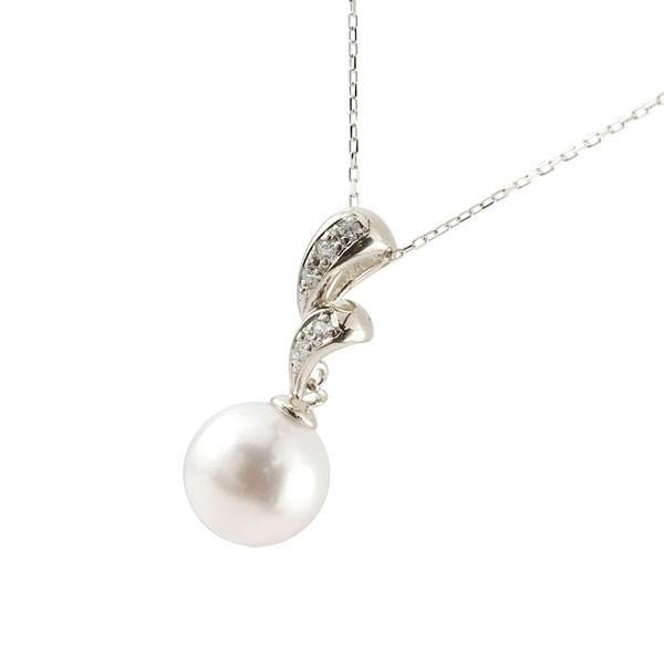 パールペンダント 真珠 フォーマル ネックレス プラチナ ダイヤモンド ペンダント チェーン 人気 6月誕生石 pt900 レディース 宝石 クリスマス 女性