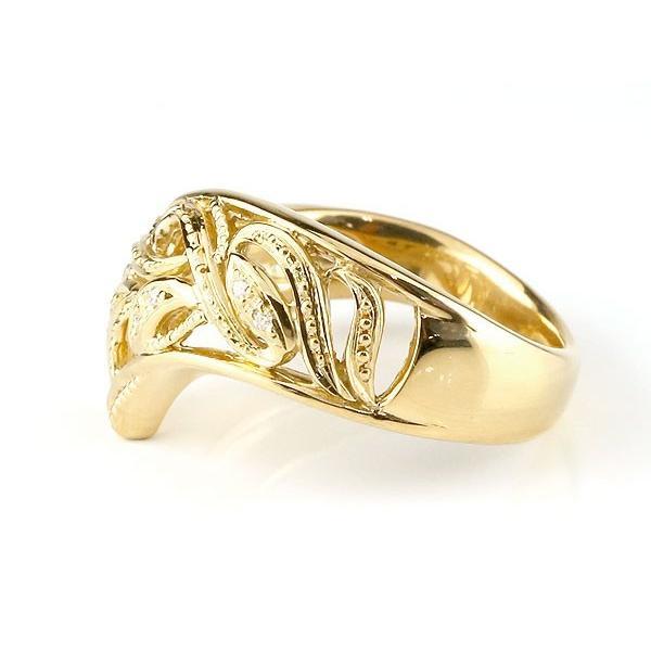 リング ダイヤモンド イエローゴールドk18 指輪 透かし 幅広リング アラベスク レディース ピンキーリング ミル打ち 18金 宝石