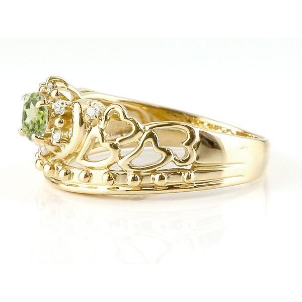 ピンキーリング リング ペリドット 指輪 イエローゴールドk18 透かし ティアラ ダイヤモンド 8月誕生石 幅広リング レディース 18金 宝石 クリスマス 女性