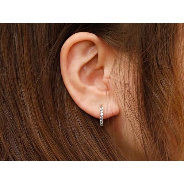 片耳 アクアマリン フープピアス ピンクゴールドk18 中折れ式ピアス 3月誕生石 天然石 18金 レディース 宝石 ピアス リング