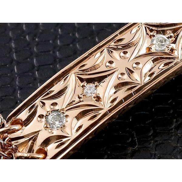 ハワイアンジュエリー ブレスレット ペア ピンクゴールドk10 プレート ダイヤモンド ミル打ち ダイヤ レディース メンズ カップル クリスマス 女性