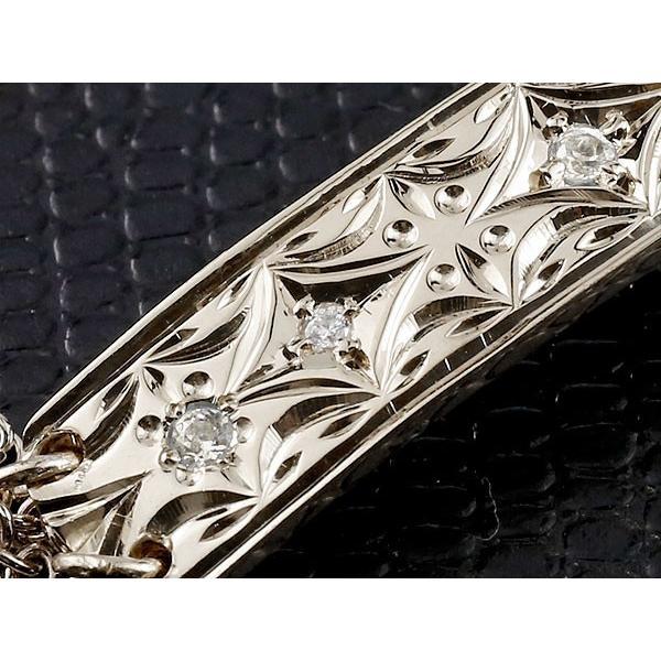 ハワイアンジュエリー ブレスレット ペア ホワイトゴールドk18 プレート ダイヤモンド ミル打ち ダイヤ レディース メンズ カップル クリスマス 女性