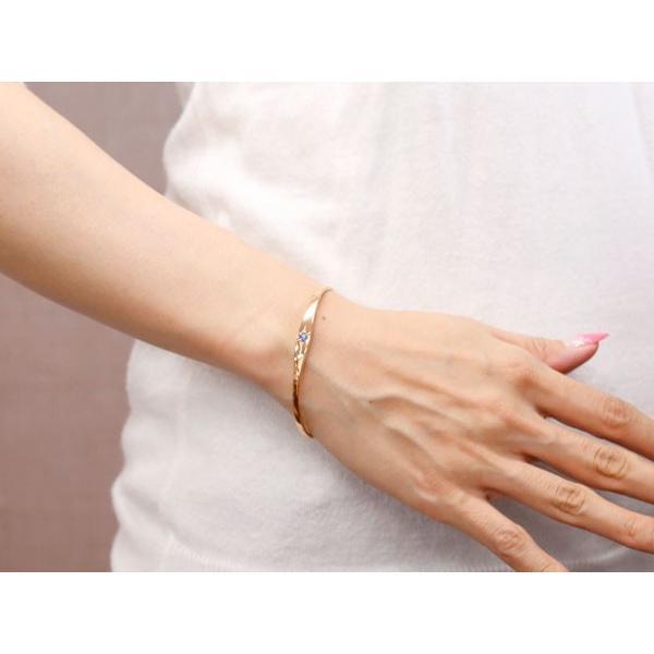 18金 バングル メンズ ブレスレット タンザナイト 一粒 後光留め ピンクゴールドk18 シンプル k18 レディース 12月誕生石 宝石 クリスマス 女性