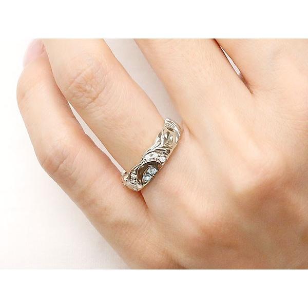 結婚指輪 ペアリング ハワイアンジュエリー プラチナ アクアマリン ダイヤモンド 幅広 指輪 マリッジリング ハート ストレート カップル クリスマス 女性