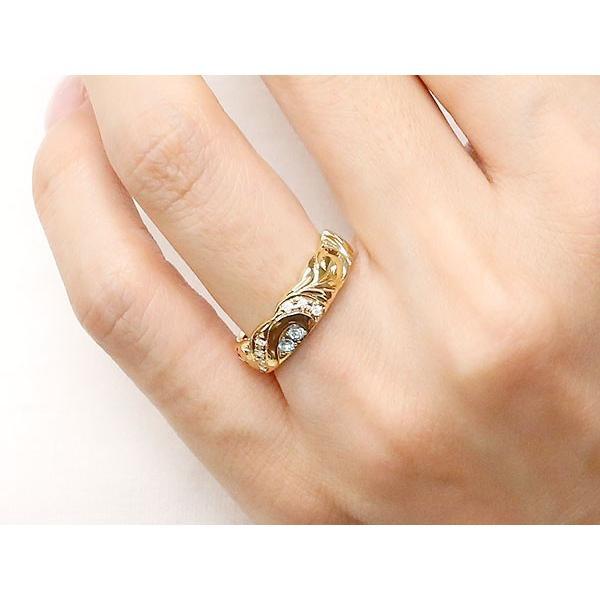 マリッジリング 結婚指輪 ペアリング ハワイアンジュエリー ダイヤモンド イエローゴールドk10 ホワイトゴールドk10 幅広 指輪 マリッジリング ハート 10金