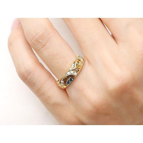結婚指輪 ペアリング ハワイアンジュエリー サファイア ダイヤモンド イエローゴールドk18 ホワイトゴールドk18 幅広 指輪 マリッジリング ハート 18金 母の日