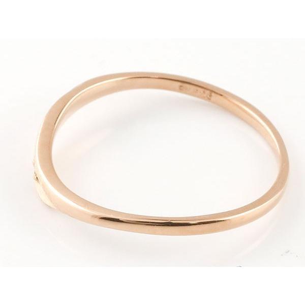 ペアリング 結婚指輪 ダイヤモンド ピンクゴールドk18 プラチナ900 V字 つや消し 一粒 18金 華奢 ストレート スイートペアリィー インフィニティ
