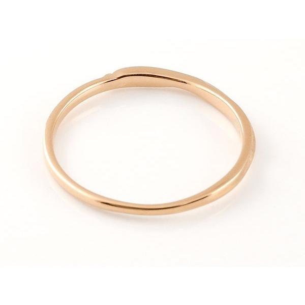 スイートペアリィー インフィニティ ペアリング 結婚指輪 ダイヤモンド ピンクゴールドk10 ホワイトゴールドk10 S字 つや消し 一粒 10金 華奢 ストレート