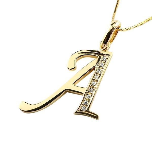 イニシャル ネーム ネックレス A ダイヤモンド イエローゴールドk18 ペンダント アルファベット レディース チェーン 人気 18金 ダイヤ クリスマス 女性
