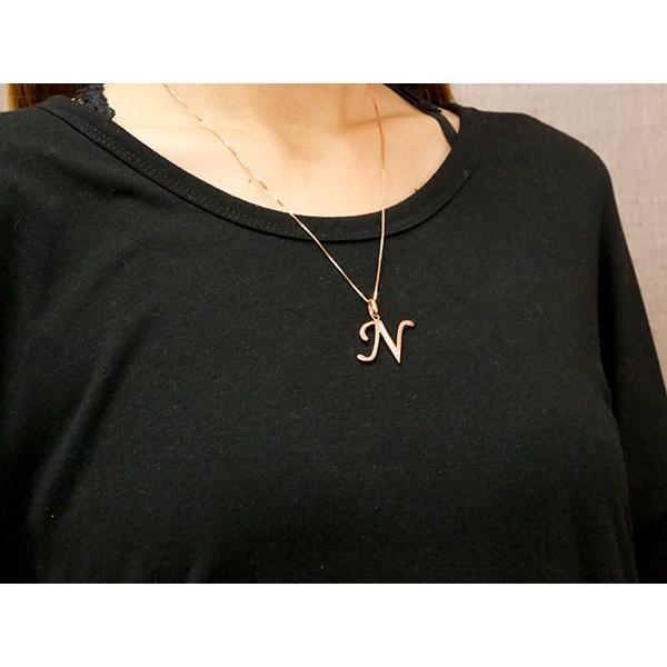 イニシャル ネーム ネックレス N ダイヤモンド ピンクゴールドk18 ペンダント アルファベット レディース チェーン 人気 18金 ダイヤ クリスマス 女性