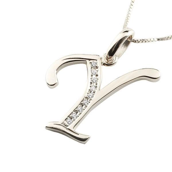 イニシャル ネーム ネックレス Y ダイヤモンド ホワイトゴールドk18 ペンダント アルファベット レディース チェーン 人気 18金 ダイヤ クリスマス 女性
