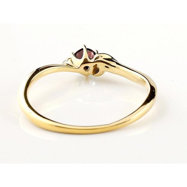 エンゲージリング イニシャル ネーム A 婚約指輪 ガーネット ダイヤモンド イエローゴールドk10 指輪 アルファベット 10金 レディース 1月誕生石 人気