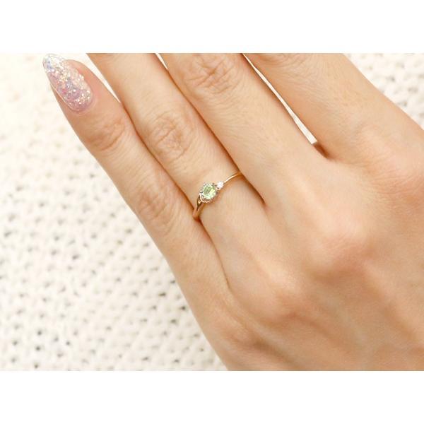 ピンキーリング イニシャル ネーム A ペリドット ダイヤモンド 華奢リング ピンクゴールドk10 指輪 アルファベット 10金 レディース 8月誕生石 人気