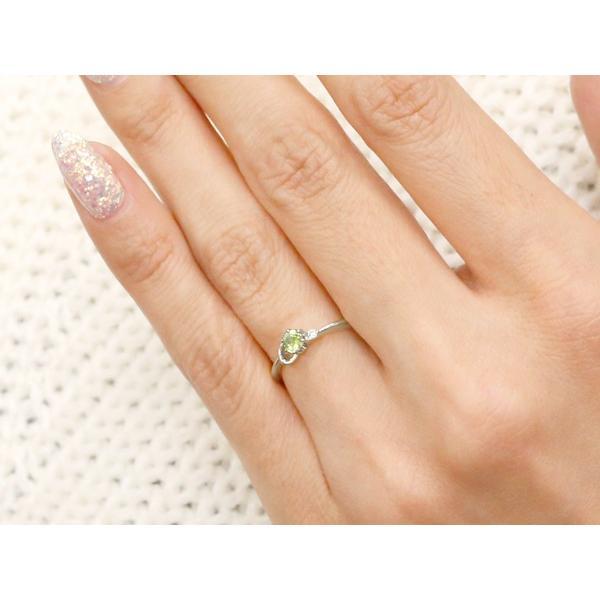 ピンキーリング イニシャル ネーム C ペリドット ダイヤモンド 華奢リング プラチナ 指輪 アルファベット レディース 8月誕生石 人気 クリスマス 女性
