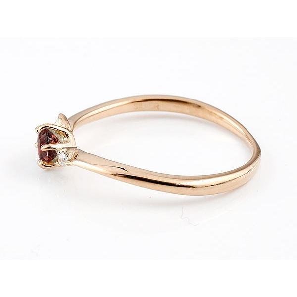 エンゲージリング イニシャル ネーム E 婚約指輪 ガーネット ダイヤモンド ピンクゴールドk10 指輪 アルファベット 10金 レディース 1月誕生石 人気