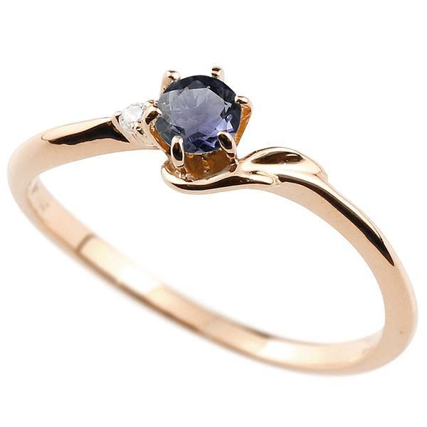 エンゲージリング イニシャル ネーム F 婚約指輪 アイオライト ダイヤモンド ピンクゴールドk18 指輪 アルファベット 18金 レディース 人気 クリスマス 女性