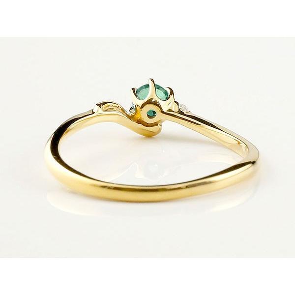 エンゲージリング イニシャル ネーム F 婚約指輪 エメラルド ダイヤモンド イエローゴールドk10 指輪 アルファベット 10金 レディース 5月誕生石 人気