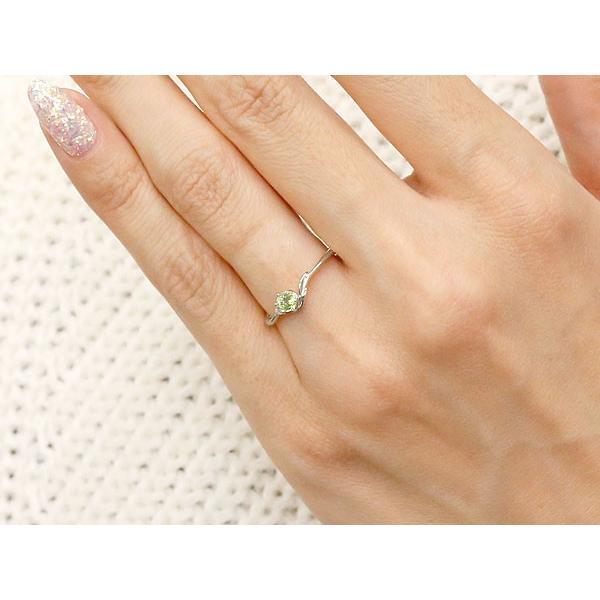 ピンキーリング イニシャル ネーム F ペリドット ダイヤモンド 華奢リング シルバー 指輪 アルファベット レディース 8月誕生石 人気 クリスマス 女性