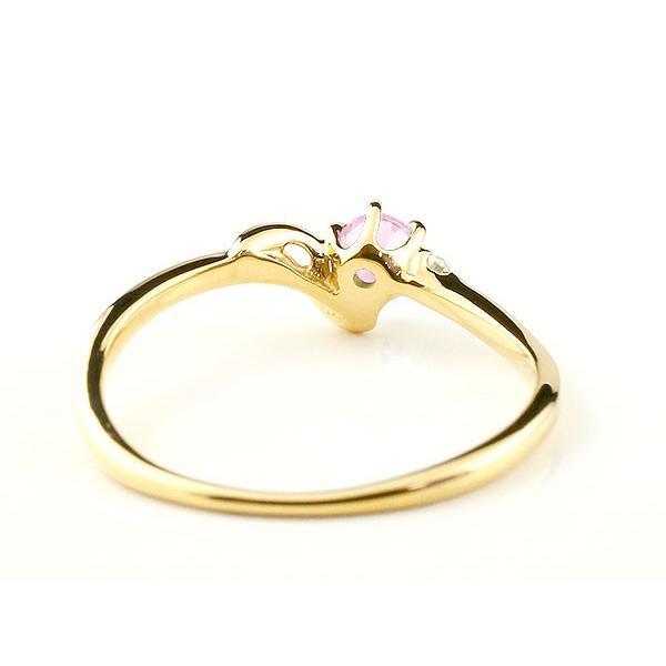 エンゲージリング イニシャル ネーム J 婚約指輪 ピンクサファイア ダイヤモンド イエローゴールドk10 指輪 アルファベット 10金 レディース 9月誕生石
