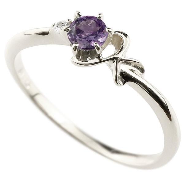 エンゲージリング イニシャル ネーム K 婚約指輪 アメジスト ダイヤモンド プラチナ 指輪 アルファベット レディース 2月誕生石 人気 クリスマス 女性