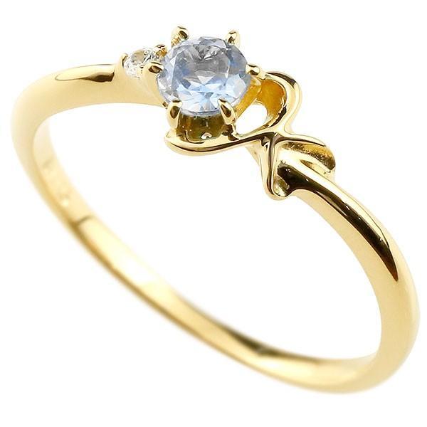ピンキーリング イニシャル ネーム K ブルームーンストーン ダイヤモンド 華奢リング イエローゴールドk10 指輪 アルファベット 10金 レディース 6月誕生石