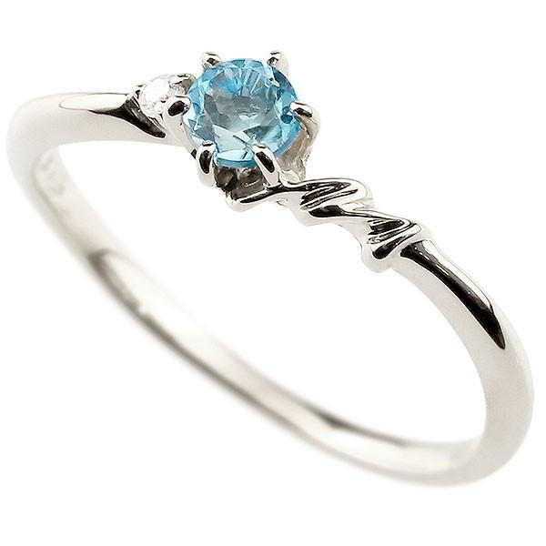 エンゲージリング イニシャル ネーム M 婚約指輪 ブルートパーズ ダイヤモンド ホワイトゴールドk10 指輪 アルファベット 10金 レディース 11月誕生石