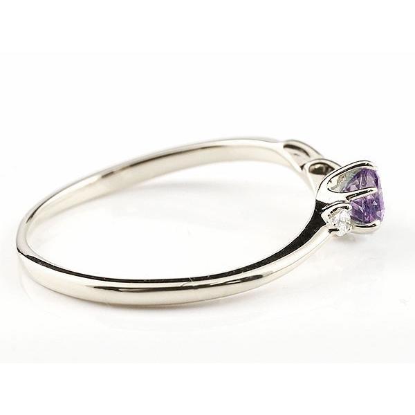 エンゲージリング イニシャル ネーム N 婚約指輪 アメジスト ダイヤモンド ホワイトゴールドk18 指輪 アルファベット 18金 レディース 2月誕生石 人気