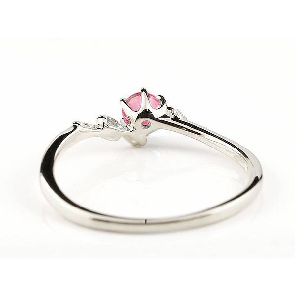 ピンキーリング イニシャル ネーム N ルビー ダイヤモンド 華奢リング プラチナ 指輪 アルファベット レディース 7月誕生石 人気 クリスマス 女性