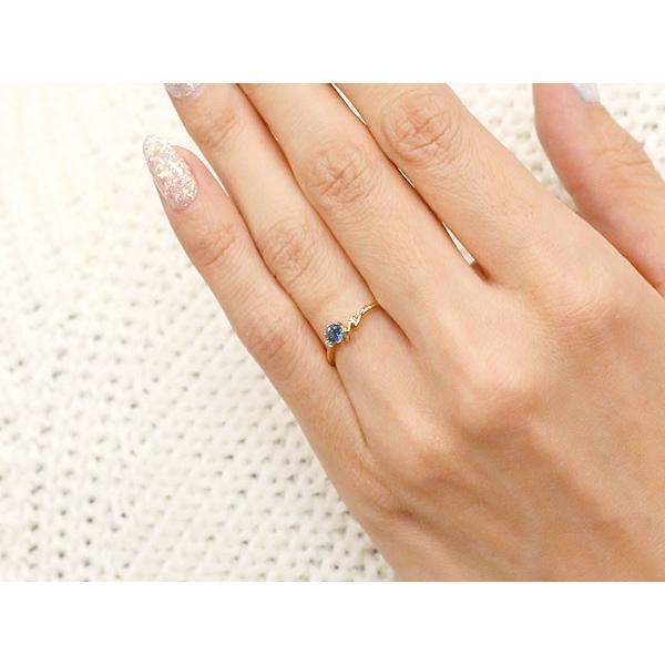 ピンキーリング イニシャル ネーム N ブルーサファイア ダイヤモンド 華奢リング ピンクゴールドk18 指輪 アルファベット 18金 レディース 9月誕生石 人気