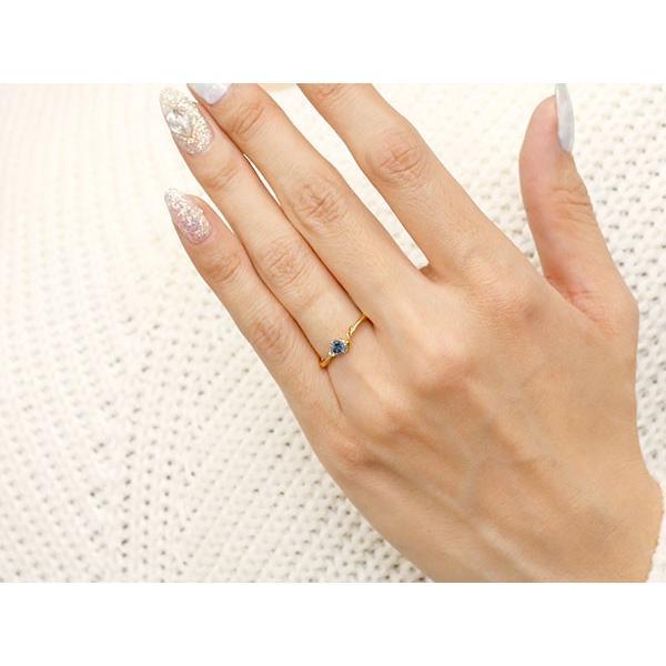 ピンキーリング イニシャル ネーム S ブルーサファイア ダイヤモンド 華奢リング イエローゴールドk18 指輪 アルファベット 18金 レディース 9月誕生石